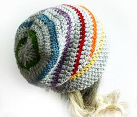 Rainbow Slouchy Beanie Crochet Slouch Hat Gray Mens Womens Girl Gay pride LGBT Grey hat spring fashion