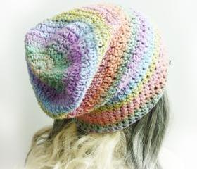 Pastel rainbow beanie Pink girl Slouchy Beanie Women Hat soft crochet beanie spring fashion yellow mint blue orange