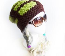 Baneling Beanie Starcraft 2 Zerg inspired gaming slouchy beanie crochet slouch hat Videogame Geeky gift green brown creature hat