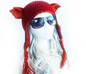 Firefox Ahri League of Legends inspired hat. Red fox ears Earflap beanie. Red orange hand crochet cat ears hat