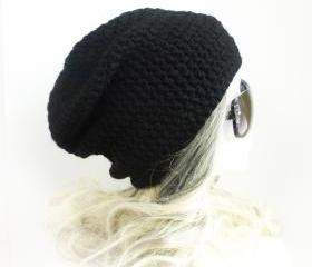 Black Beanie Slouchy Beanie Crochet Slouch Hat Pure Black men beanie women beanie baggy hat spring beanie