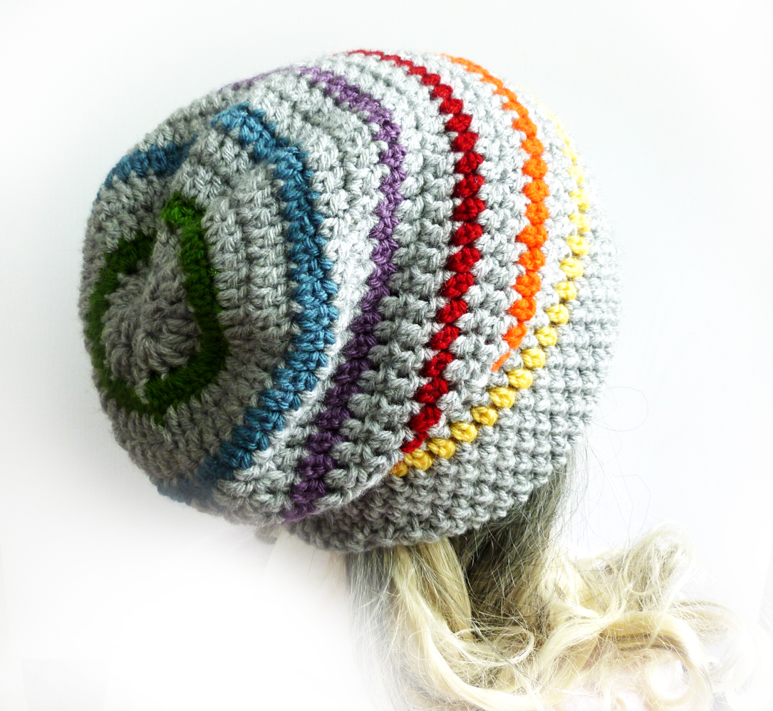 Rainbow Slouchy Beanie Crochet Slouch Hat Gray Mens Womens ...